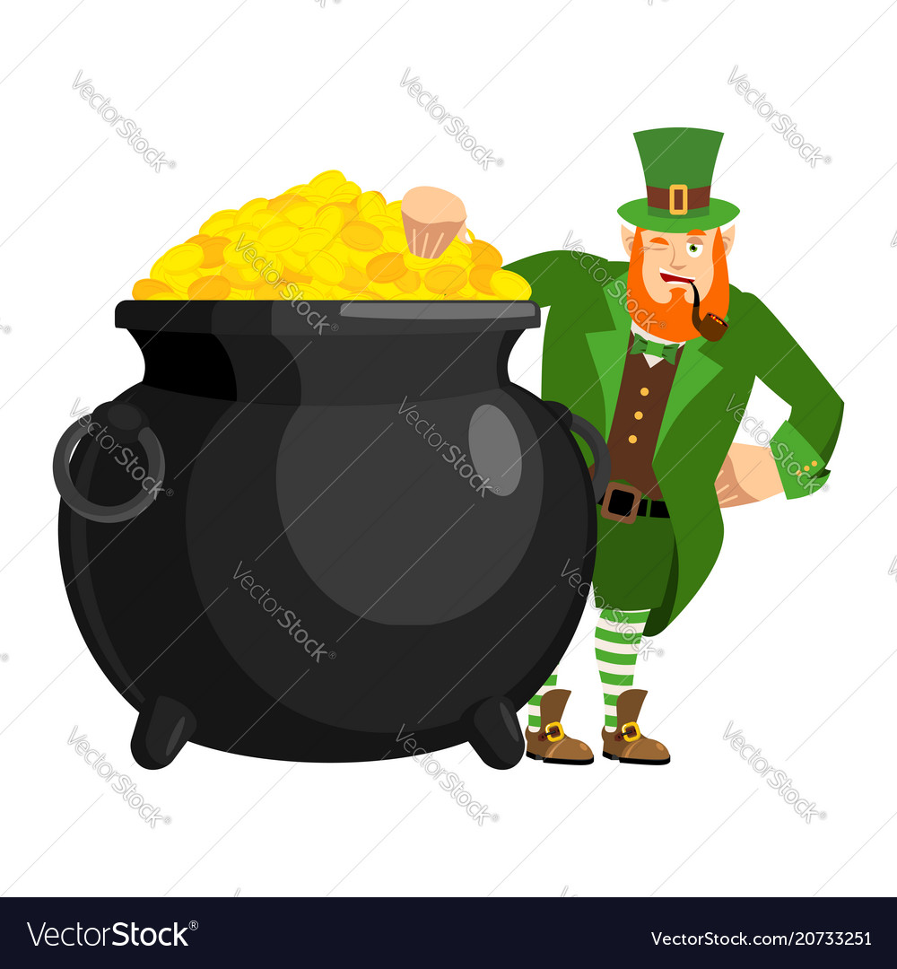 leprechaun and pot of gold dwarf with red beard vector image