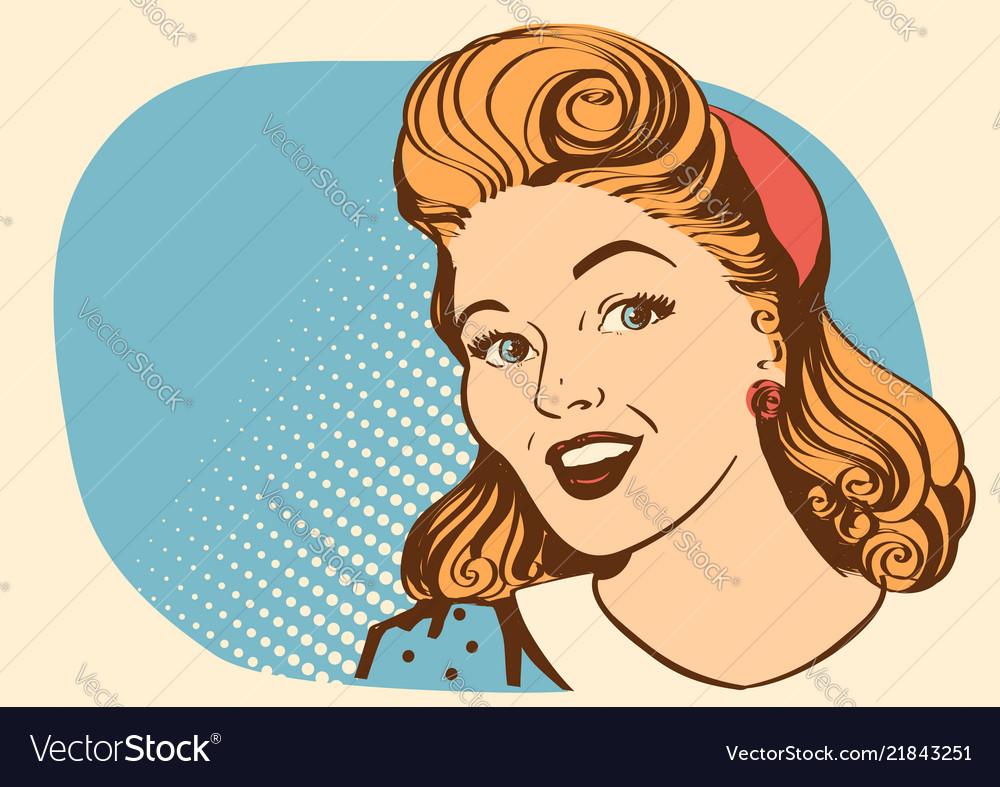 Retro smiling woman portrait face color retro