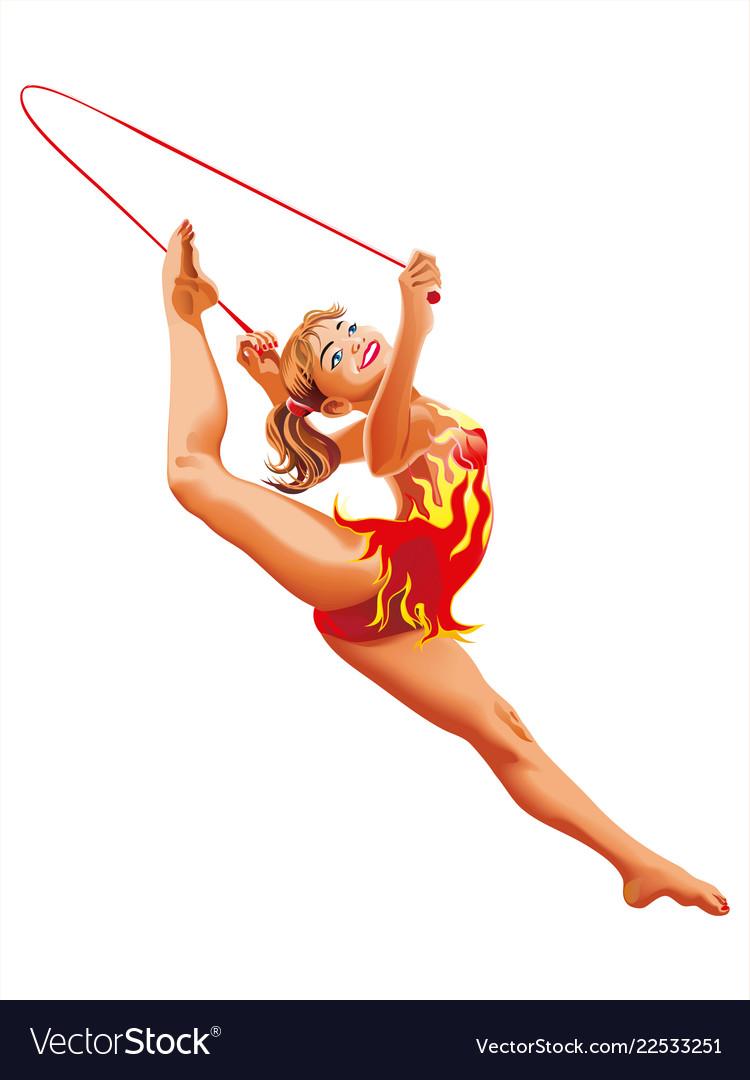 Rhythmic gymnastics rope athletes sportswoman