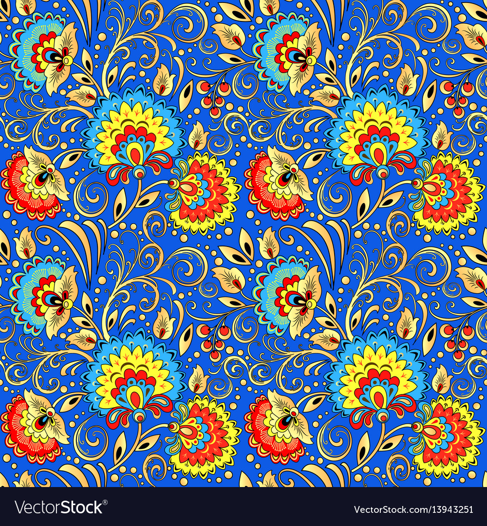 Seamless background painted with flowers and