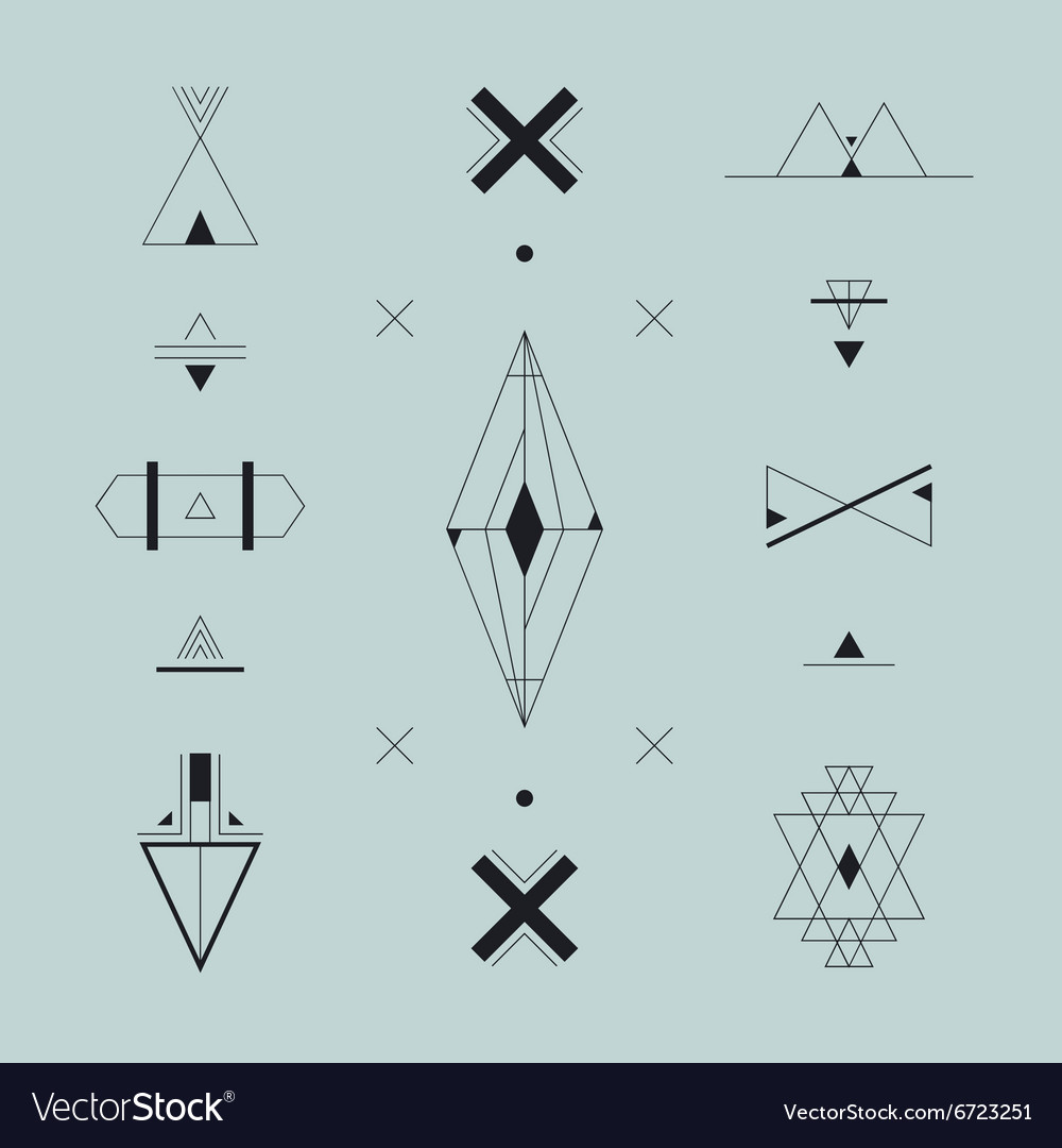 Set of trendy geometric icons logos signs