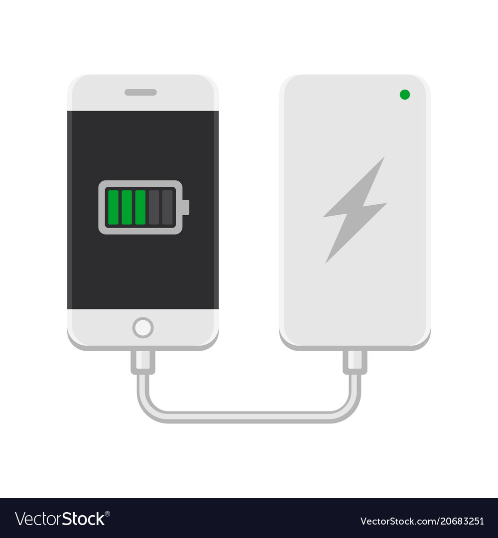 Smartphone with powerbank on white background