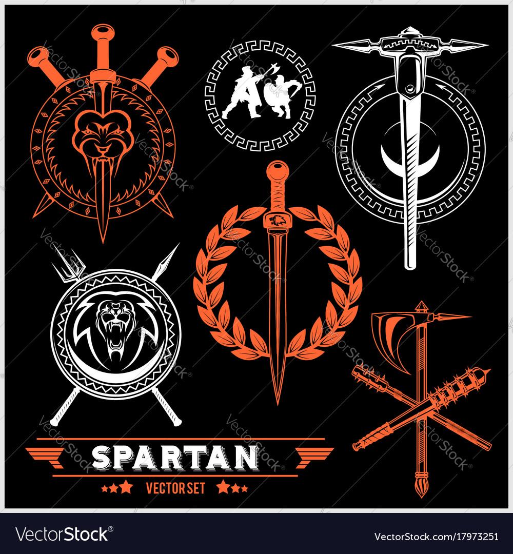 Spartan team logo and emblems - set