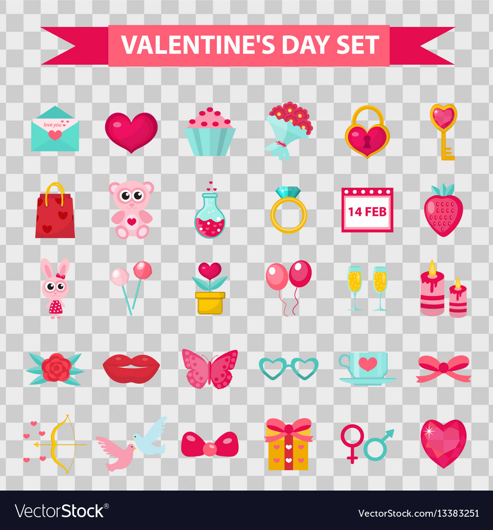 Valentines day icons flat style isolated on