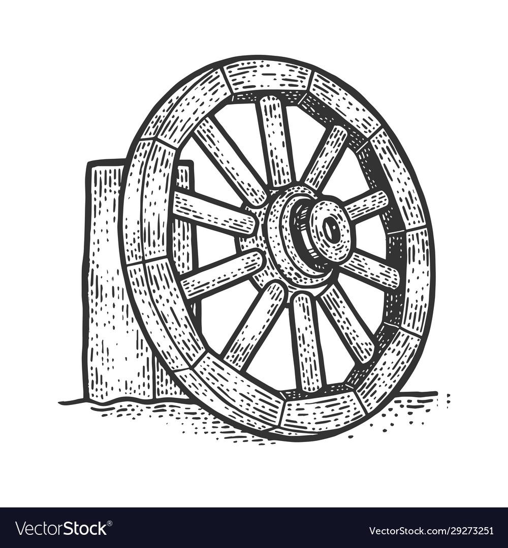 Wooden cart wheel sketch