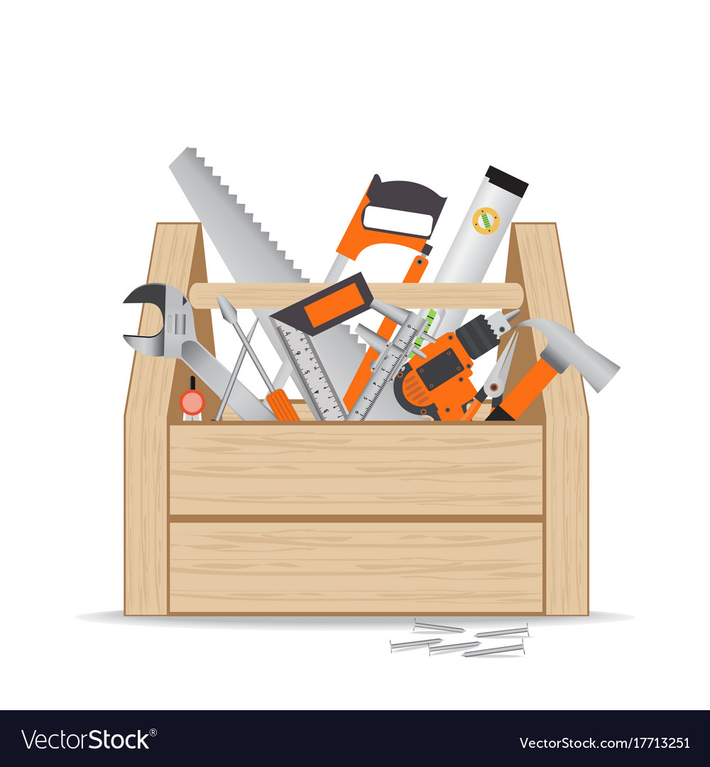 Wooden toolbox with repair and construction