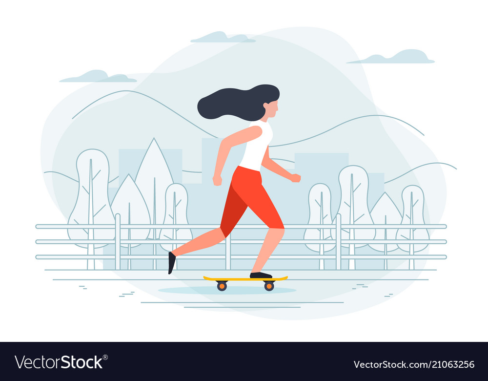 banner template with girl on a skate royalty free vector