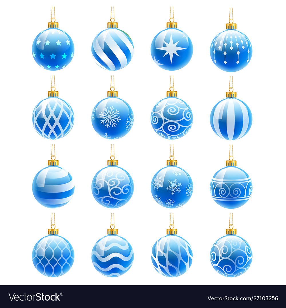 Blue christmas balls set