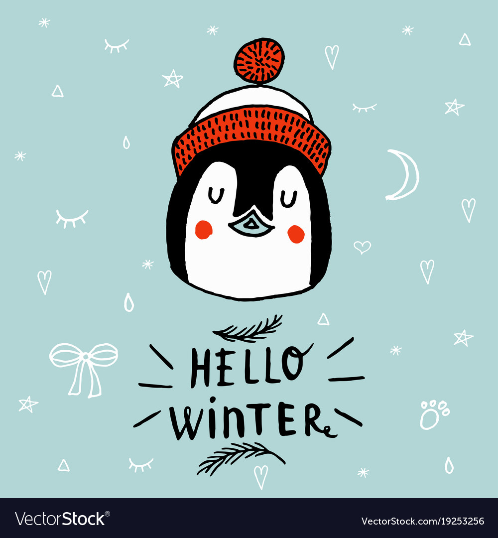 Christmas card with a penguin with lettering hello