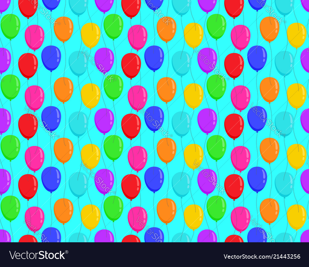 Color balloons on blue background bright seamless