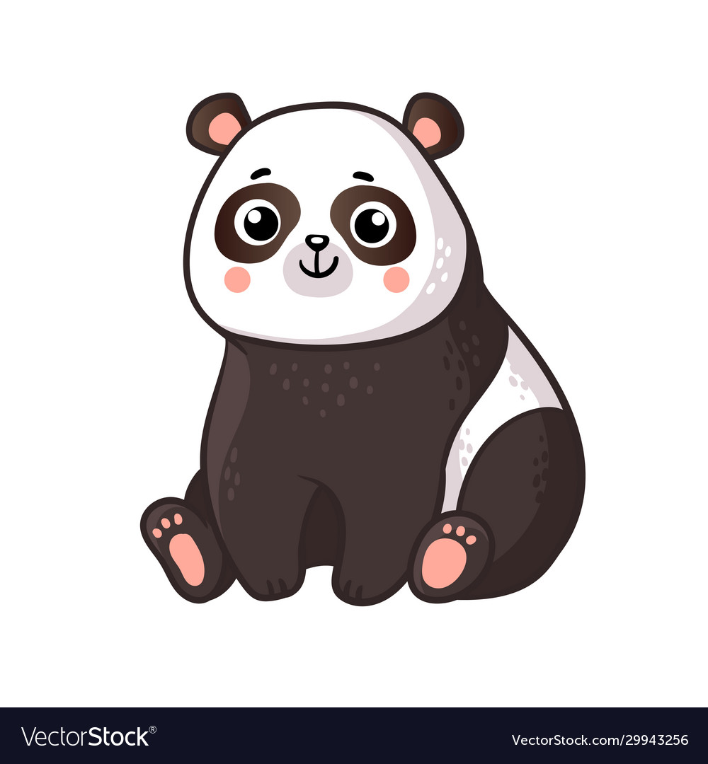 Cute panda sits on a white background