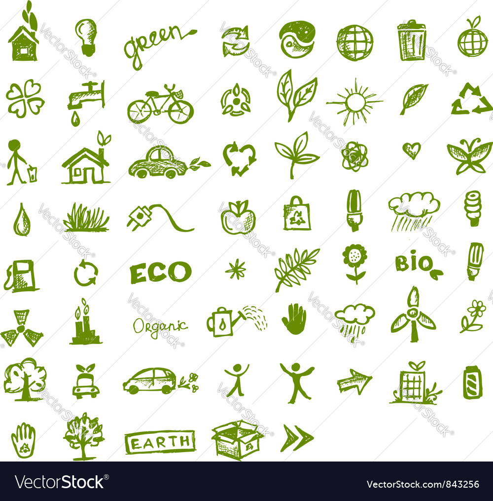 Green ecology icons vector image