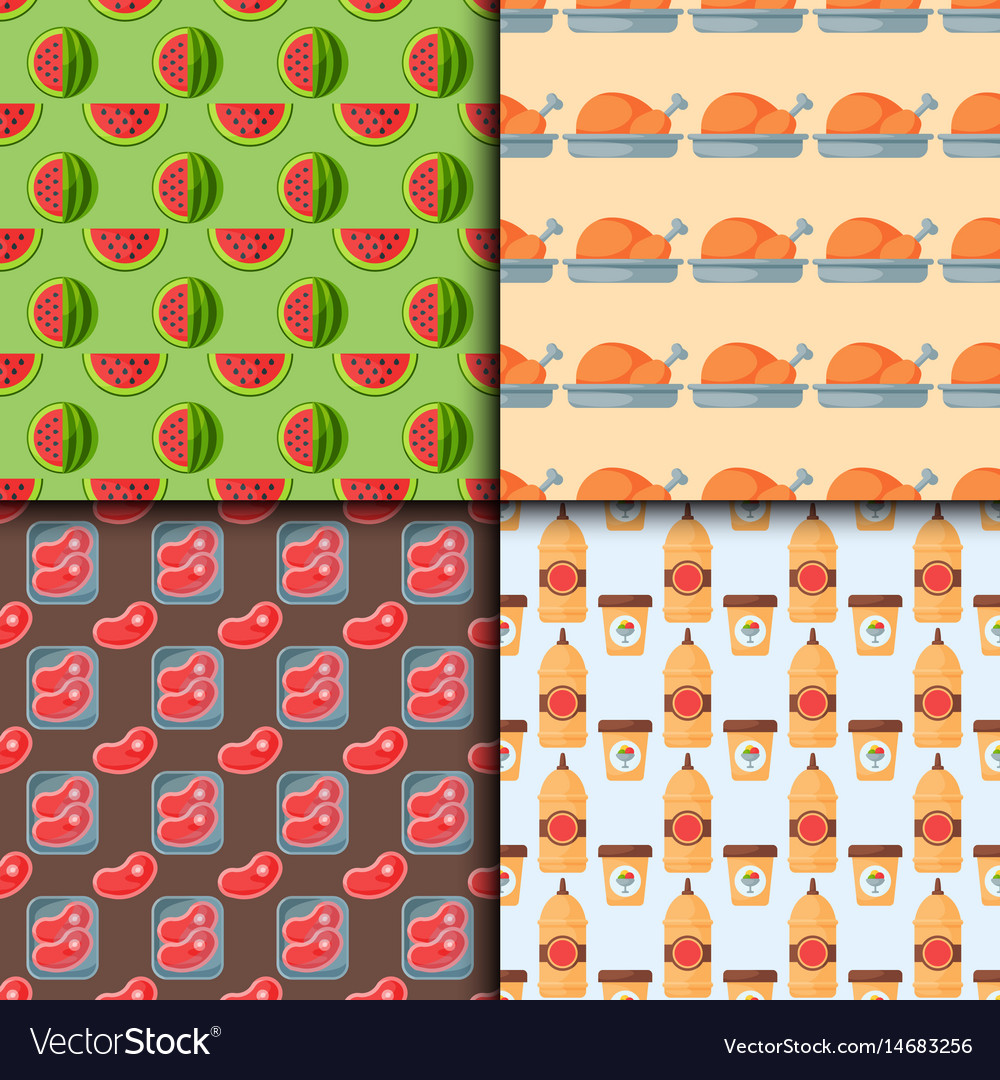 Healthy food seamless pattern diet dinner lunch vector image