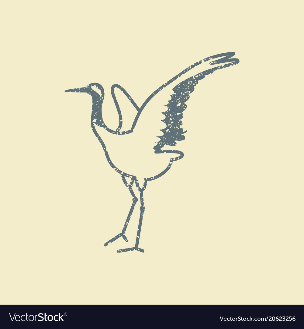 Japanese crane bird icon