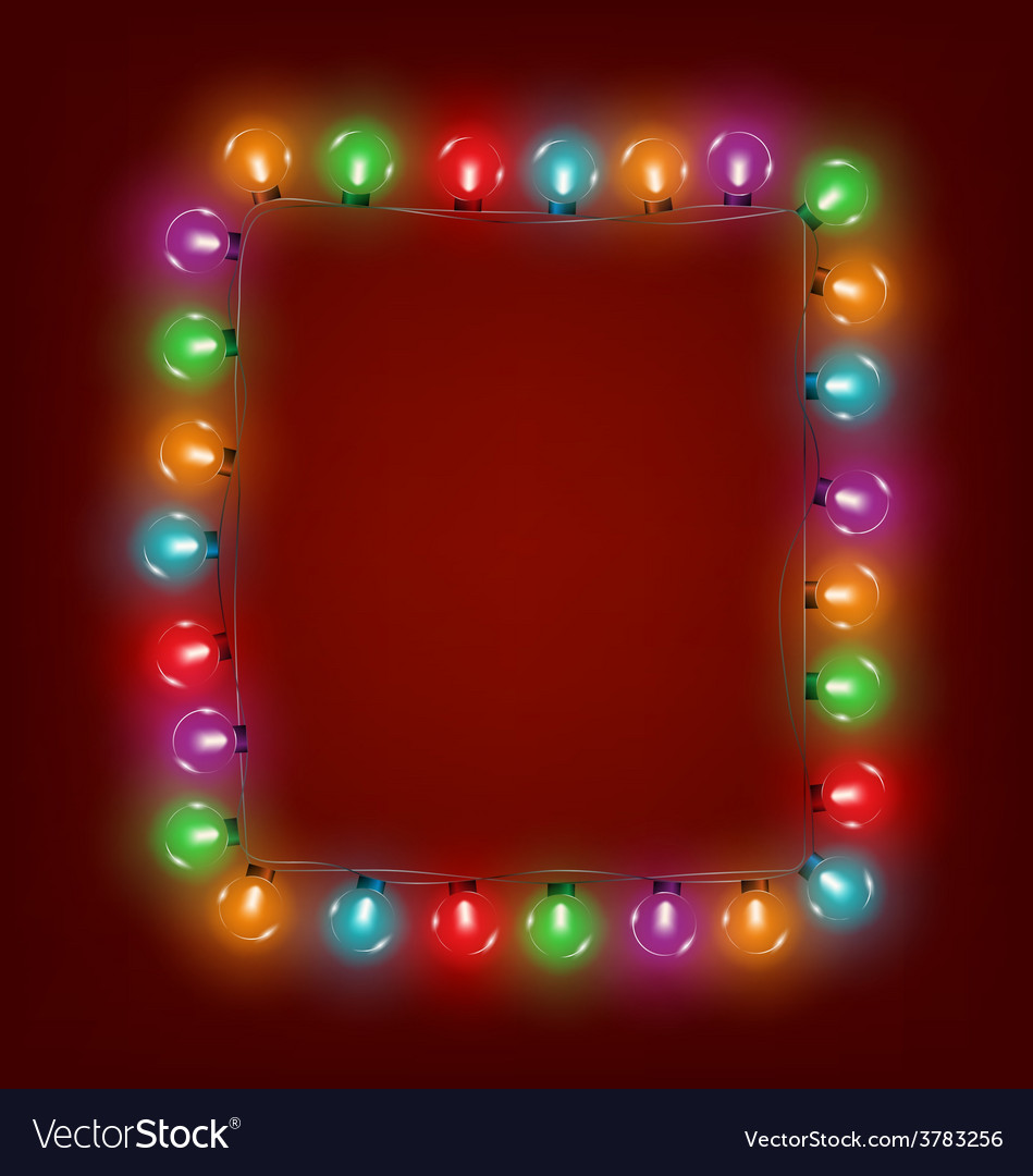 multicolored glassy led christmas lights garland vector image
