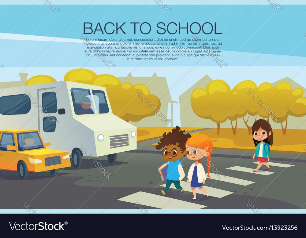 Multiracial kids walking across pedestrian