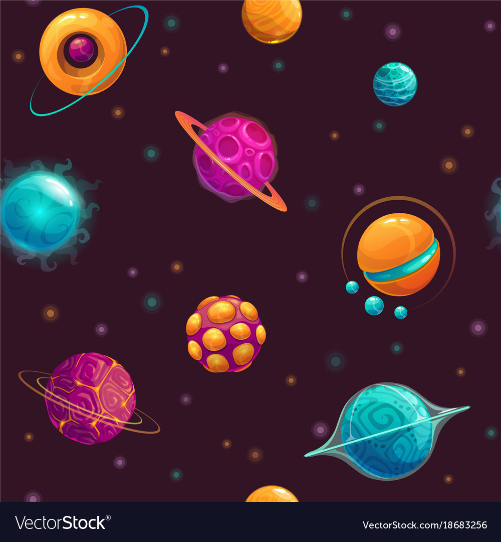 seamless pattern with cartoon fantasy planets vector image