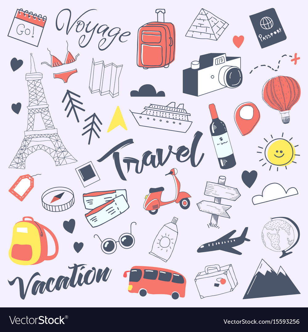 Travel hand drawn doodle with luggage globe