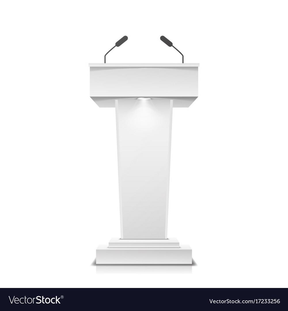 Tribune Isolated White Clean Podium Royalty Free Vector