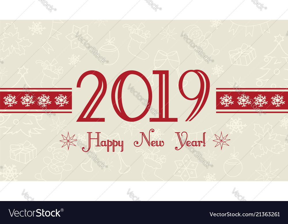 2019 happy new year card Royalty Free Vector Image