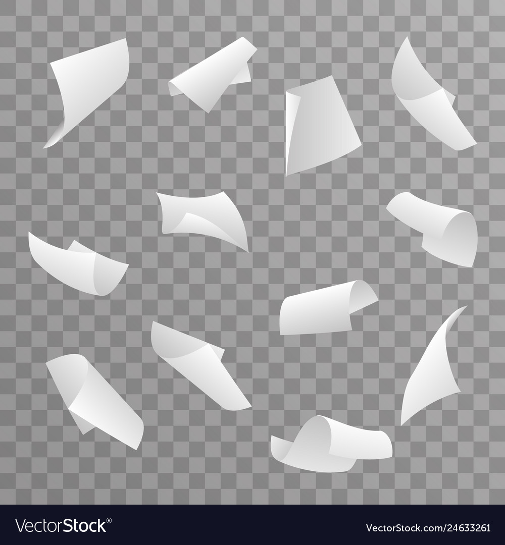 Blank paper sheet 3d curl flying set transparent