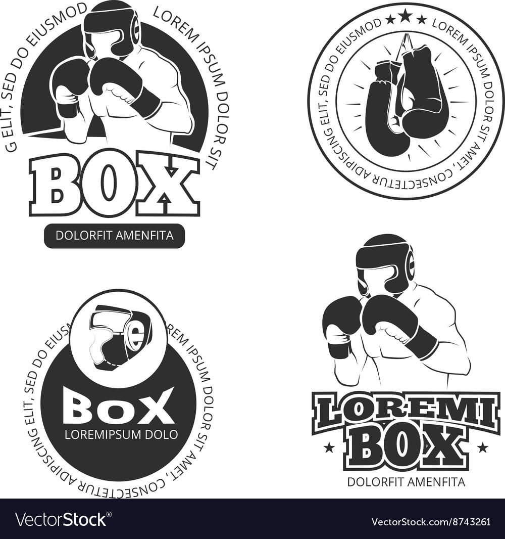 Boxing retro labels set