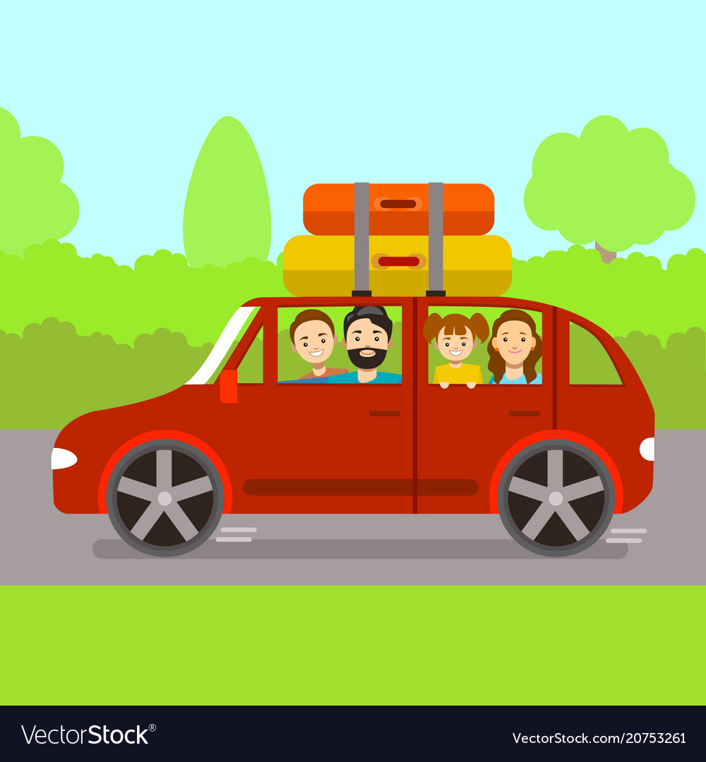 Cartoon family journey by red car