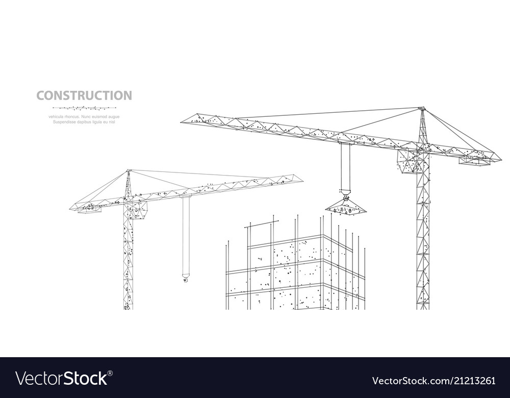 Construction polygonal wireframe building under