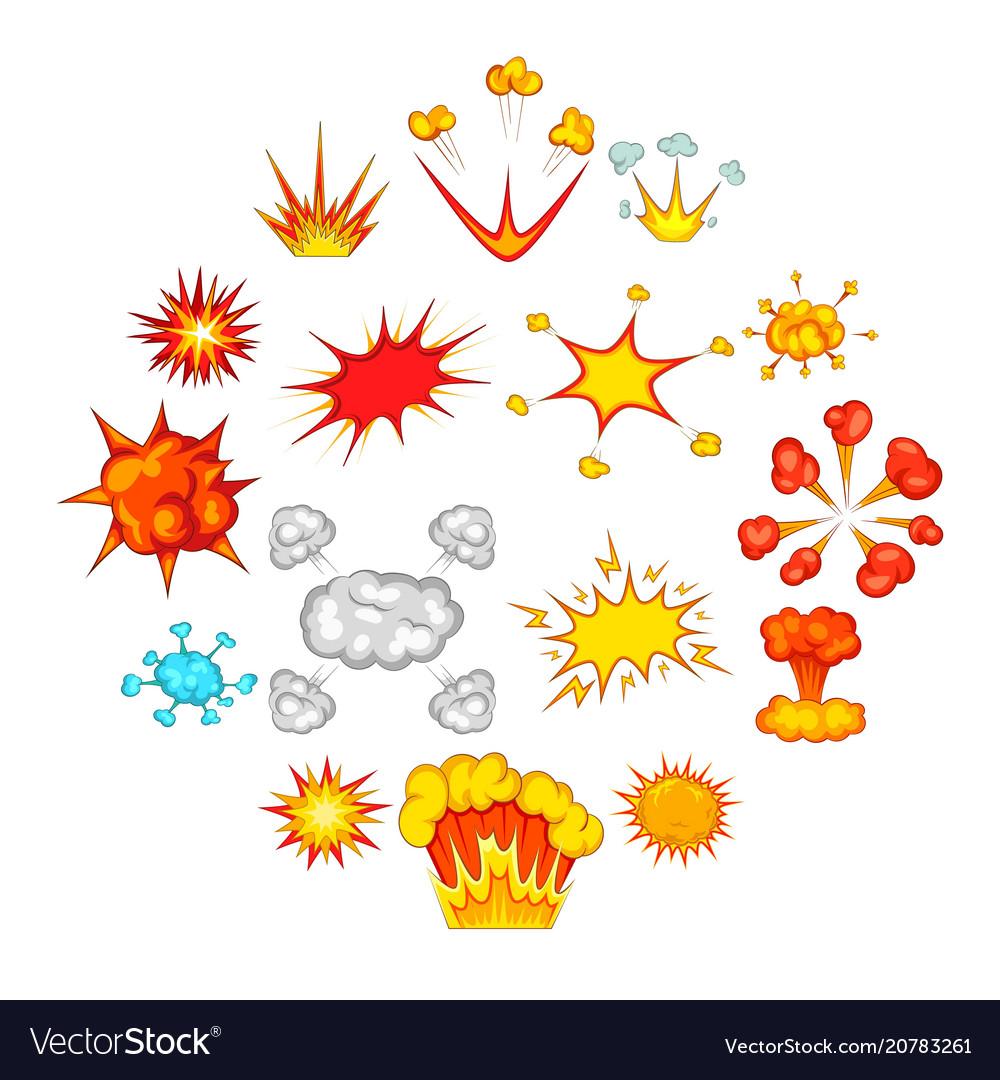 Explosion icons set cartoon style