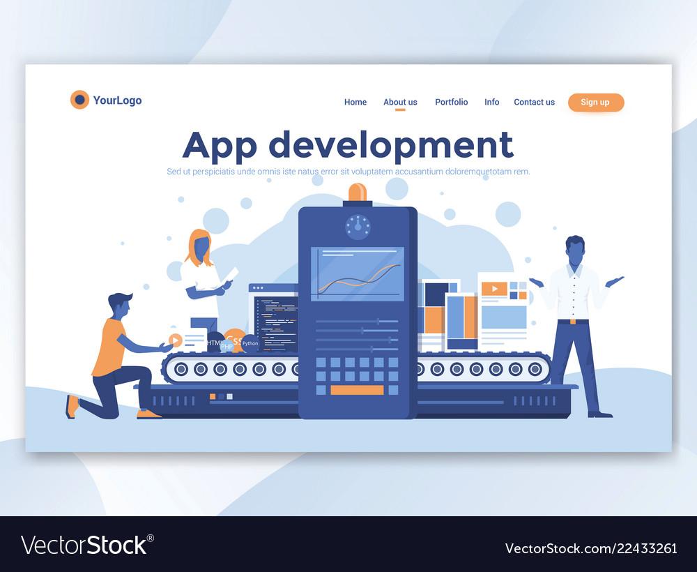 Flat modern design of wesite template - app
