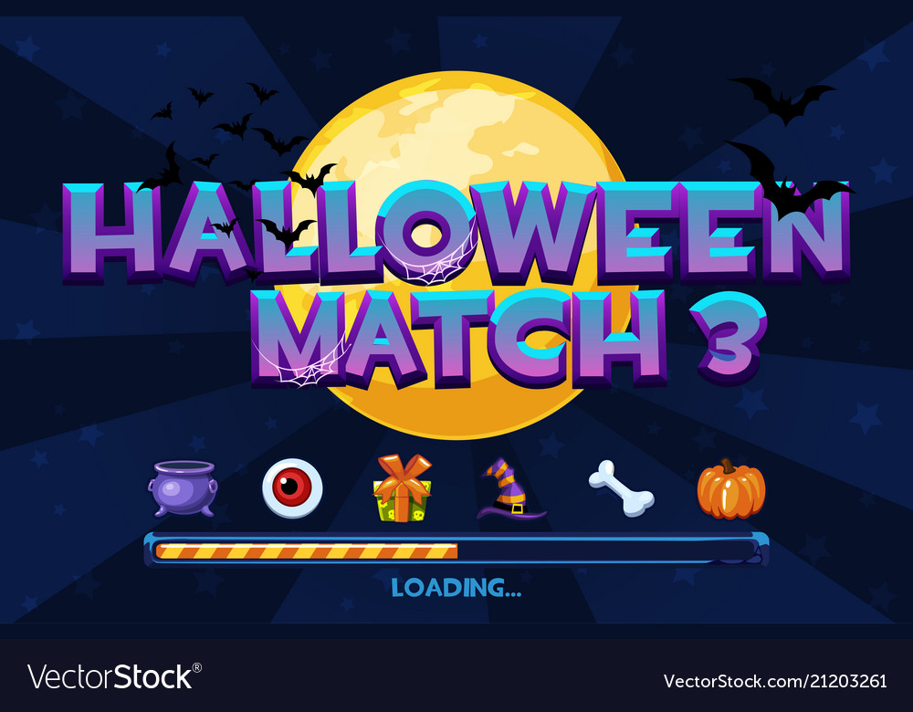 Halloween match3 on background set icons and