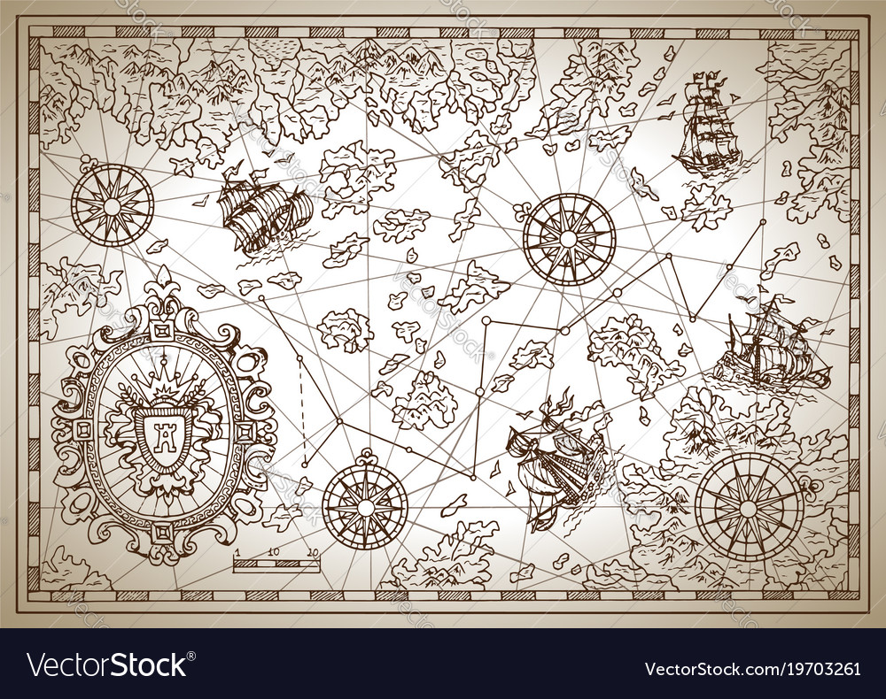 Pirate treasure map with compass and ships