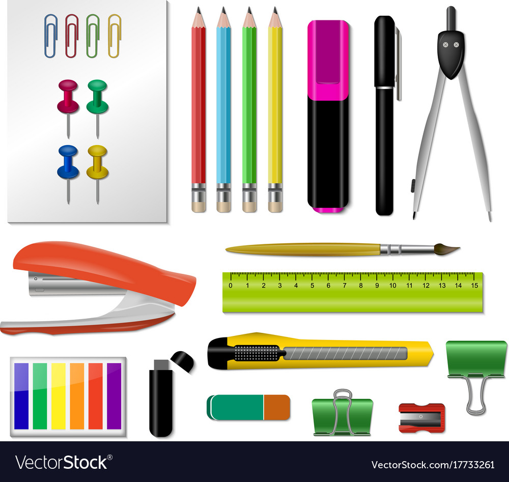 Realistic stationery icon set vector image