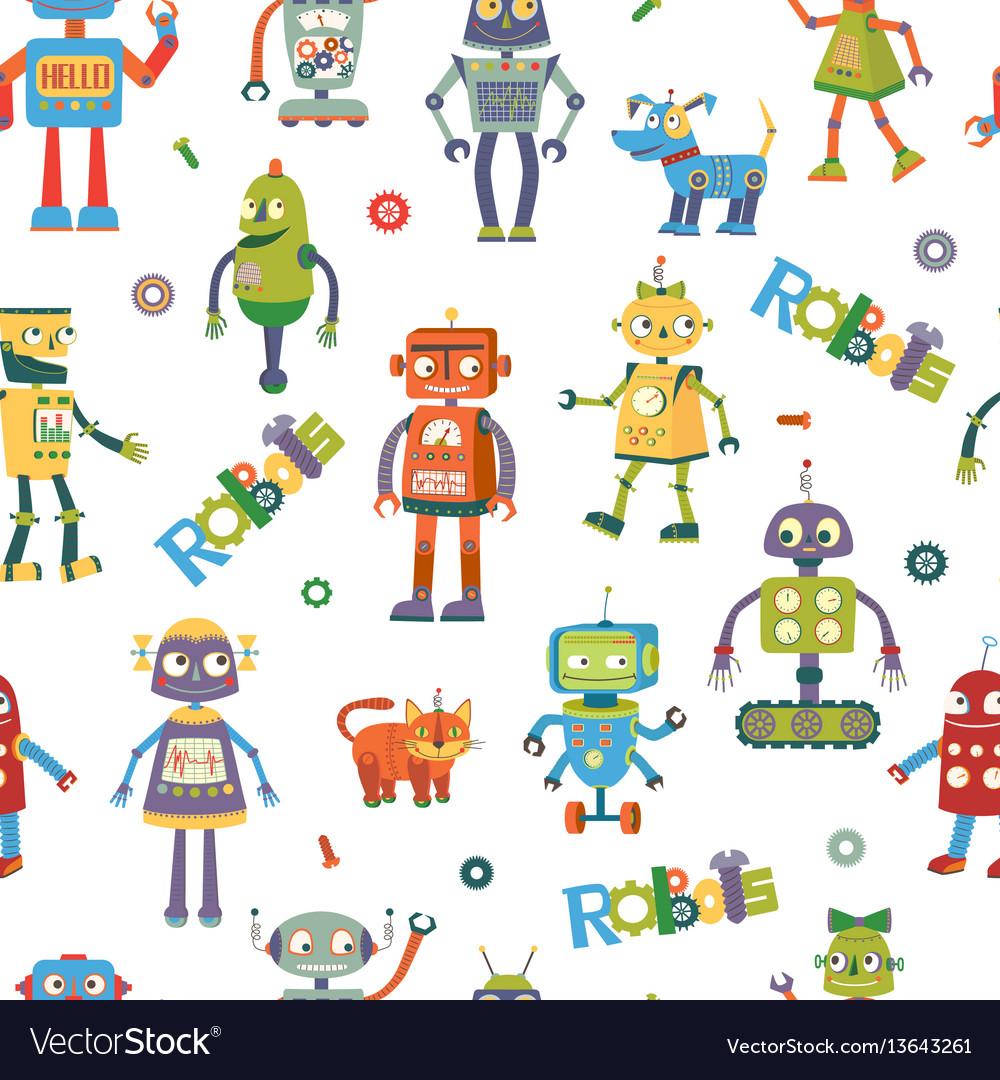 Robots cartoon seamless pattern