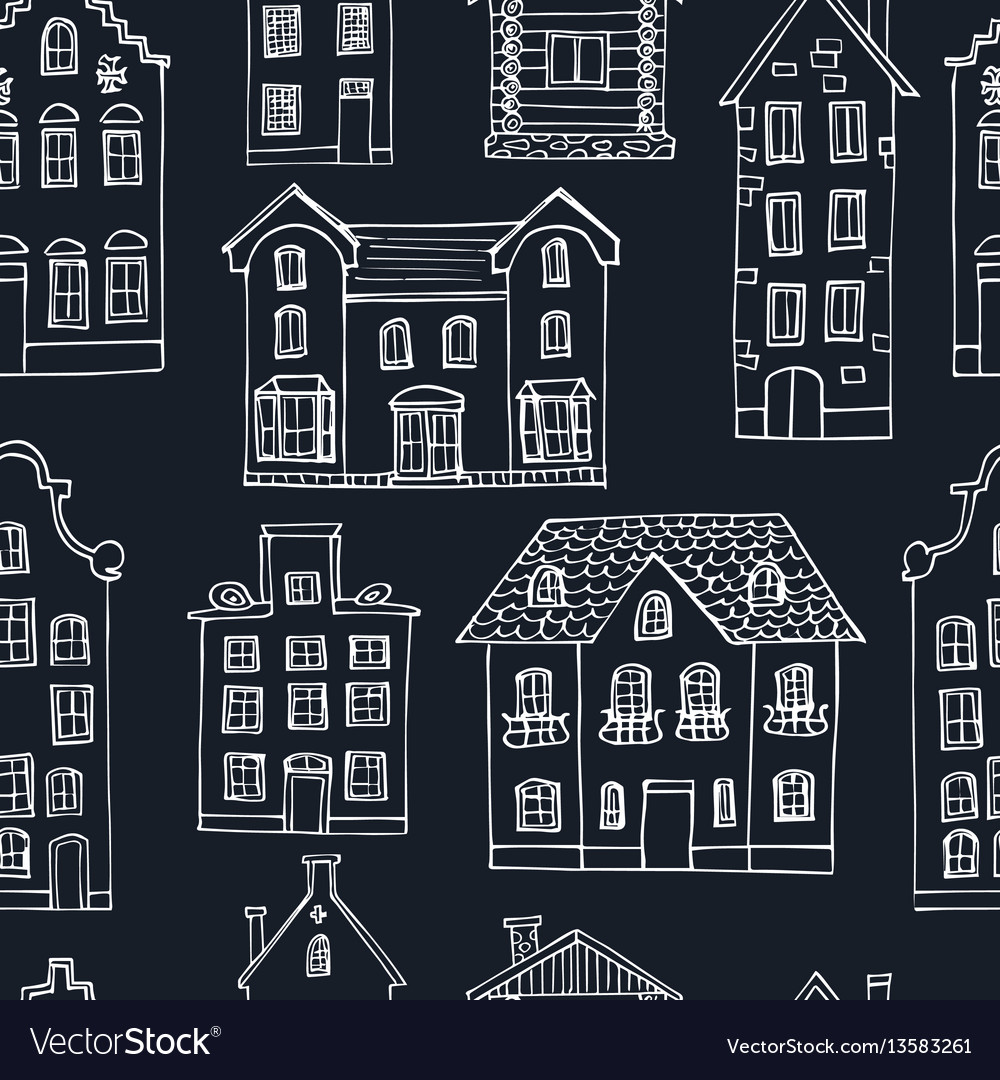 Seamless pattern hand drawn buildings