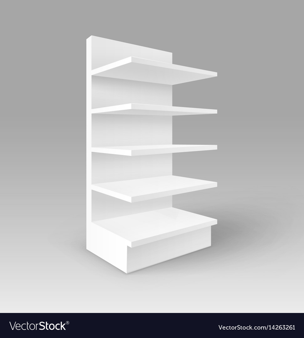 Exhibition Stand White : White exhibition stand shop rack with shelves vector image