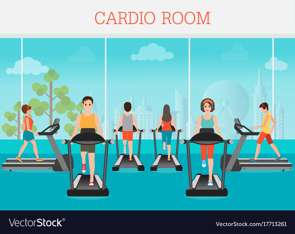 Young adult man and woman running on treadmill in vector image