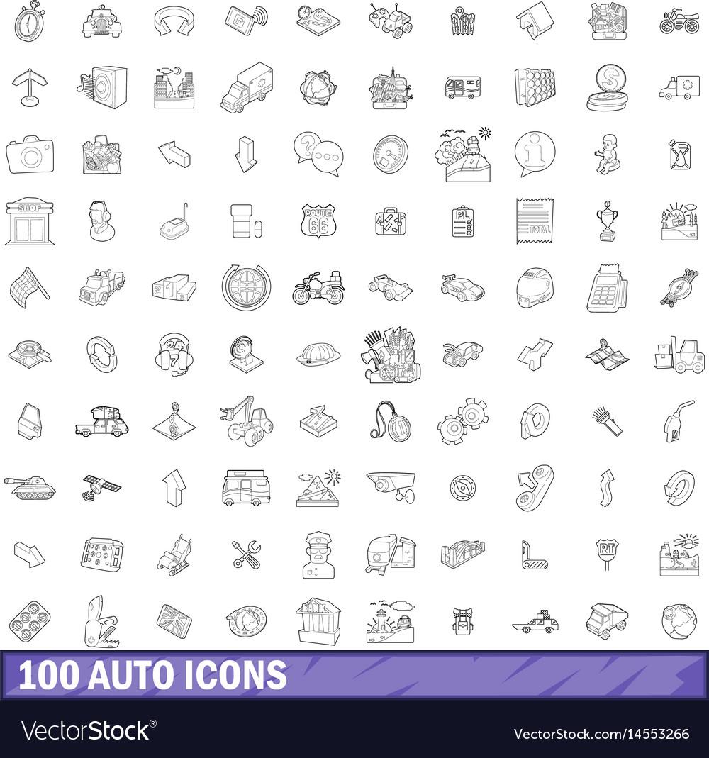 100 auto icons set outline style