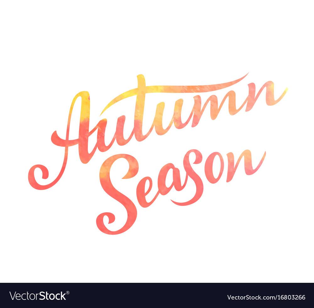 Autumn season lettering hand drawn composition