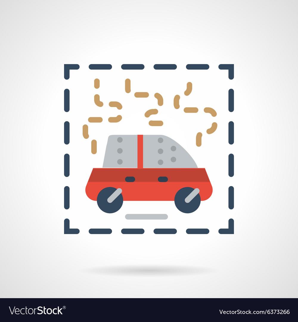 Burning car abstract flat icon vector image