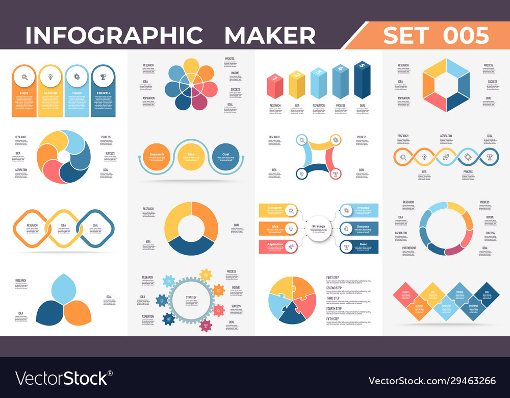 Business infographics diagrams charts with 3 4