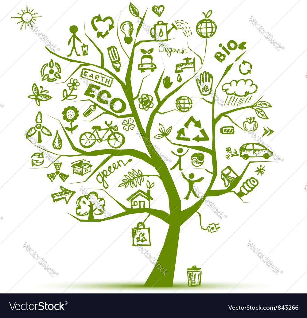 Eco Green ecology tree vector image