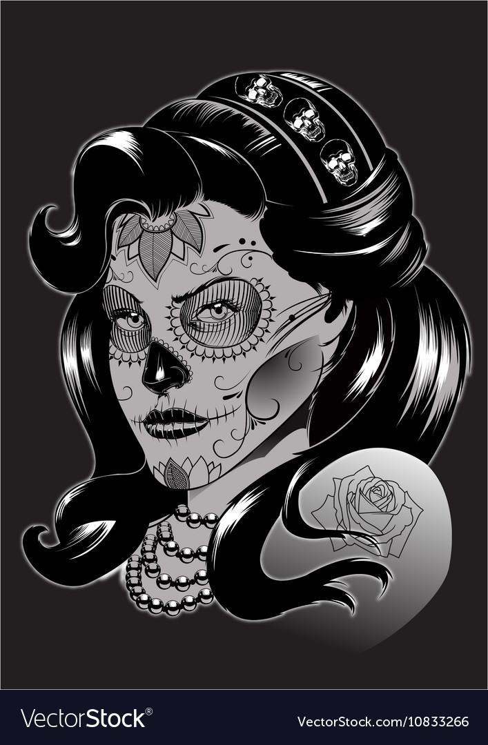La Catrina Sugar Skull Royalty Free Vector Image