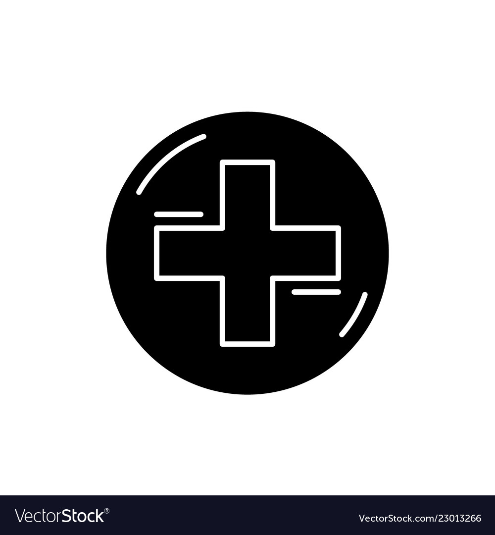 Medical cross black icon sign on isolated