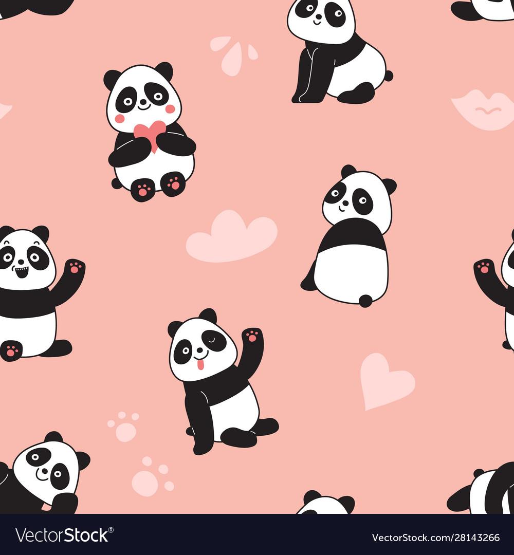 Panda seamless pattern happy cute flying panda