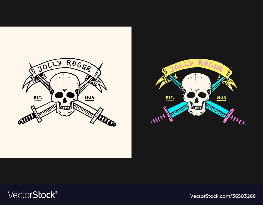 Pirate skull on background daggers or