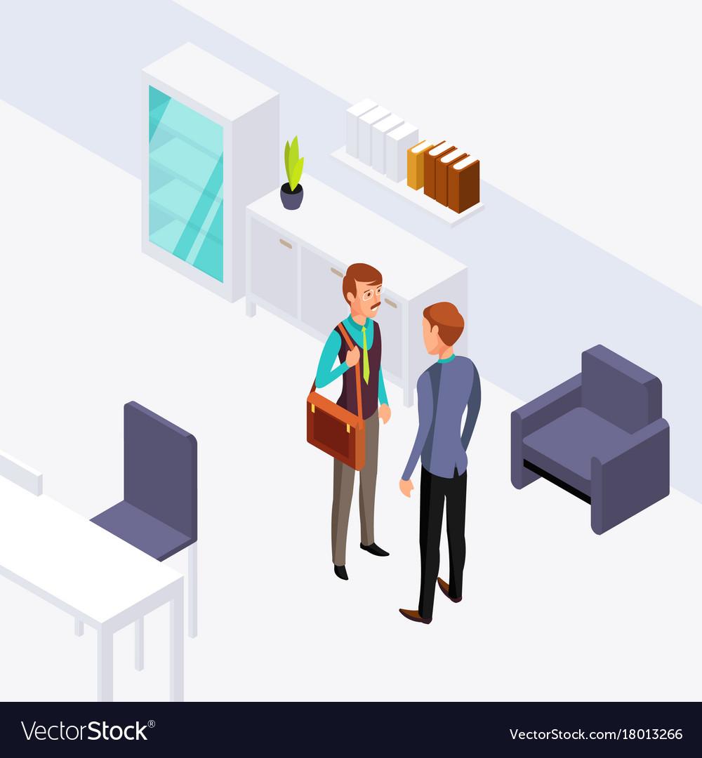 Two businessman office conversation