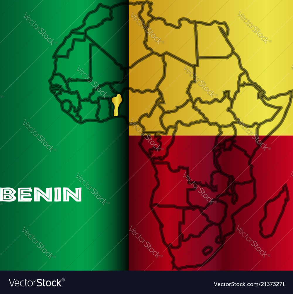 Benin isolated on map Royalty Free Vector Image