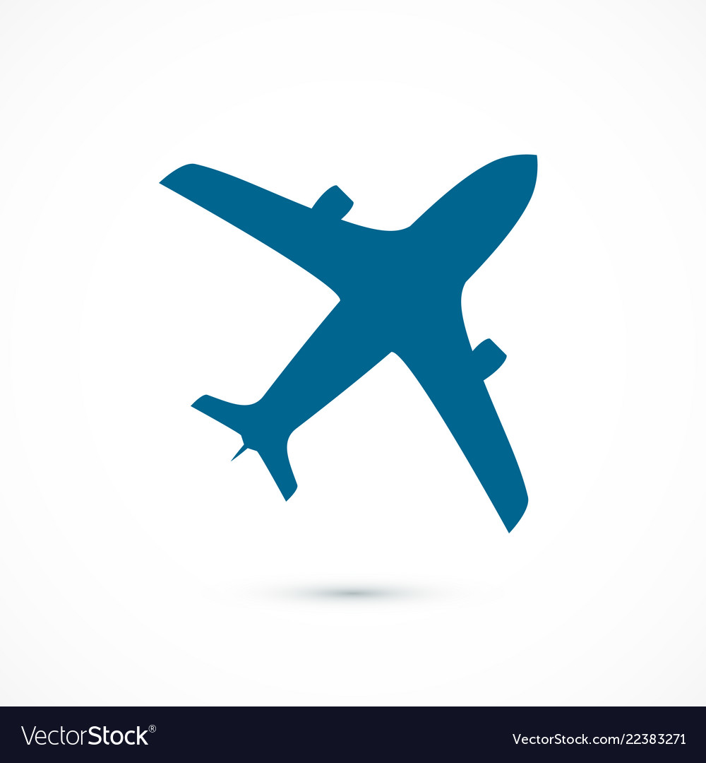 Blue flying airplane icon isolated on white