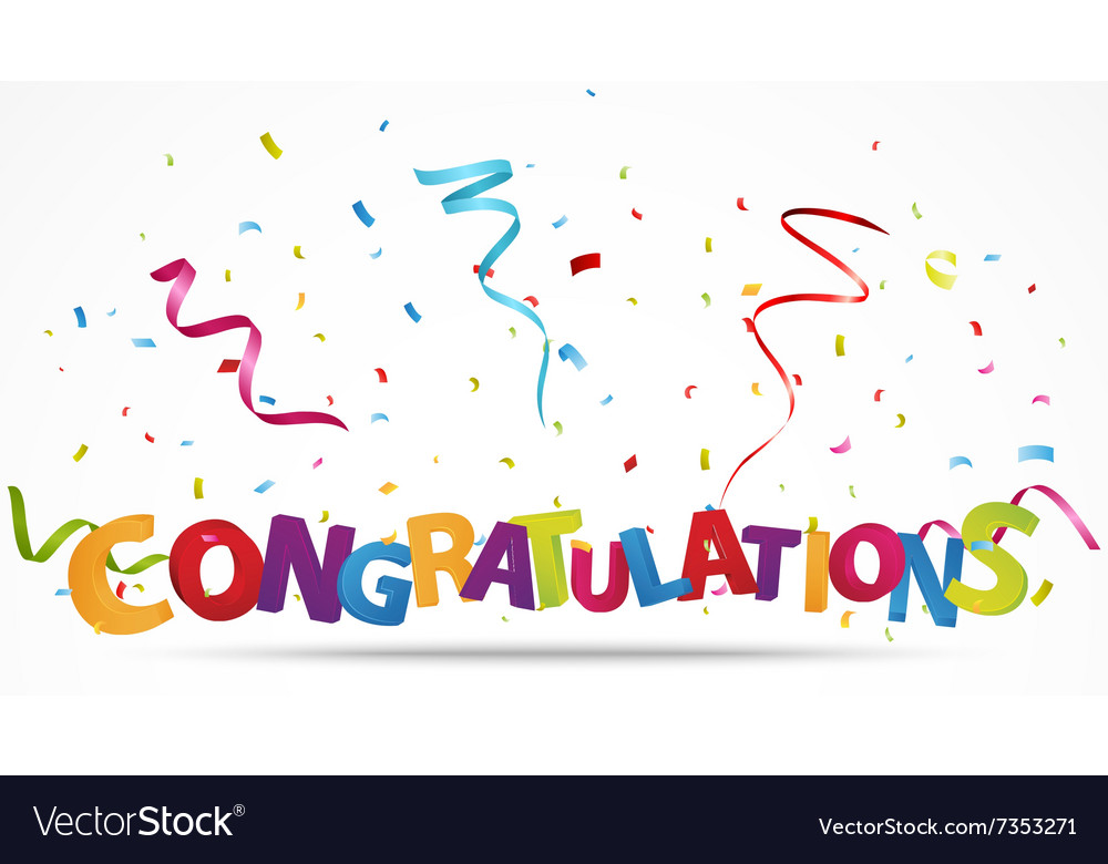 congratulations with confetti royalty free vector image